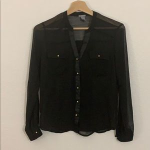 Charlotte Russe sheer black gold button down-XS